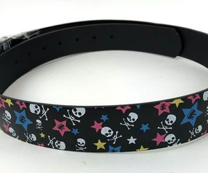 Belt Printed Stars Skulls Mens Womens Unisex Removable Buckle XL 42-44 rocker, an item from the 'Rockstars' hand-picked list