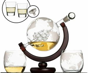 Whiskey Globe Decanter Set with 2 Etched Globe Whisky Glasses & Shots Glasses, an item from the 'Happy Hour at Home' hand-picked list