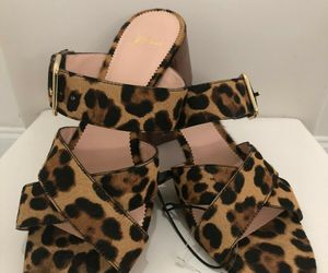 J.CREW Leopard Print Calf Hair On Leather Sandals/Slides Sz. 10.5 $198  NEW, an item from the 'Fearless & Fashion Forward' hand-picked list