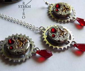 Vintage watch movement Blood red  Swarovski Steampunk necklace and Earrings - St, an item from the 'Community Picks: Steampunk & Gothic Jewelry' hand-picked list