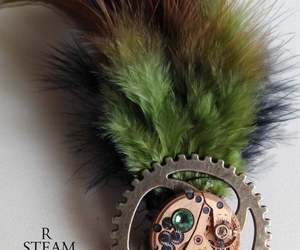 Steampunk watch brooch peridot - mechanism brooch - feathered brooch - steampunk, an item from the 'Community Picks: Steampunk & Gothic Jewelry' hand-picked list
