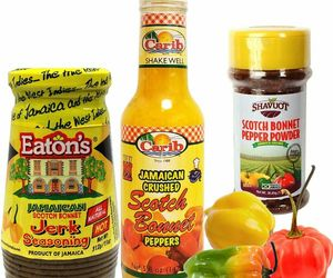 Jamaican Scotch Bonnet Pepper Jerk Seasoning and Pepper Powder Variety 3-Pack, an item from the 'Spice Up Your Life' hand-picked list