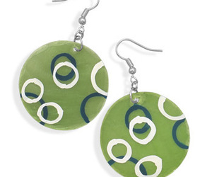 Green Shell Fashion Earrings With Hand Painted Circles, an item from the 'Geometrically Speaking..' hand-picked list