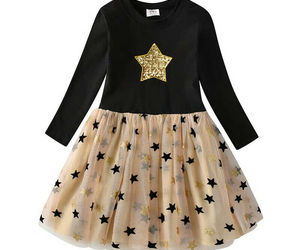 NEW Flip Sequin Gold Star Girls Long Sleeve Christmas Tutu Dress, an item from the 'Spring Wear' hand-picked list