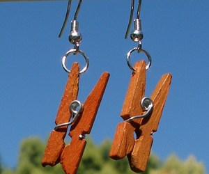 New Modified Handcrafted Real Miniature Working Wooden Clothespin Earrings , an item from the 'Earth Day... Recycle, Reuse, Reduce' hand-picked list