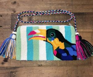 Authentic 100% Wayuu Crossbody Clutch Bag Medium Size Summer Toucan Print SS20, an item from the 'Cool Stuff' hand-picked list