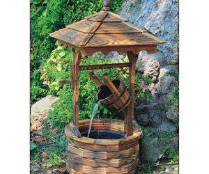 Wishing Well Outdoor Fountain Rustic Chinese Fir Wood Leakproof Liner w/ Bucket, an item from the 'Ponds and Water Features' hand-picked list