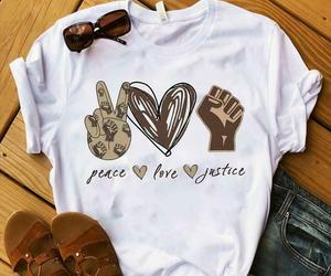 Sign Language Juneteenth Peace Love Justice Tshirt Women White M - 3XL, an item from the 'Juneteenth Celebrations' hand-picked list