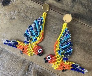 Macaw Parrots Native American Beaded Dangle Seed Bead Earrings New Tropical, an item from the 'Free Fall-ing' hand-picked list