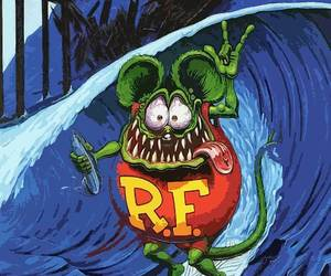Surfing Rat Fink Surfer Big Daddy Ed Roth Metal Sign, an item from the 'Year of the Rat' hand-picked list