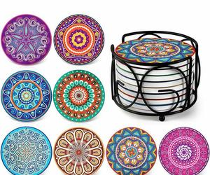 "Nice Ceramic Boho Coasters Set of 8 4"" x 4"" 10cm Colorful Absorbent Mandala, an item from the 'Happy Hour at Home' hand-picked list"