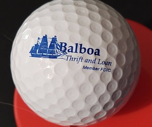 Balboa Thrift & Loan Logo Golf Ball Nike Vintage Advertising Premium Preowned, an item from the 'Golf is my thing' hand-picked list