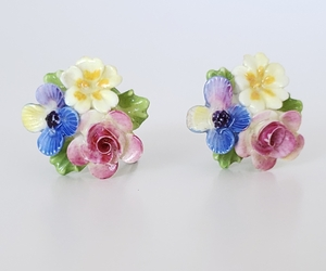 Vintage Porcelain Flower Cluster Bouquet Earrings, Screw Backs, Colorful Floral , an item from the 'Vintage Earrings are Back' hand-picked list