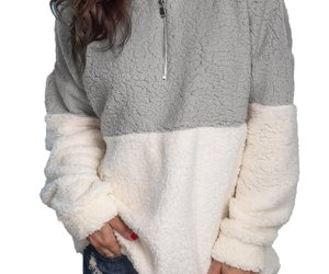 Women Fuzzy Fleece Long Sleeve Zip Up Pullover Sweatshirt, an item from the 'Fuzzy Feels' hand-picked list