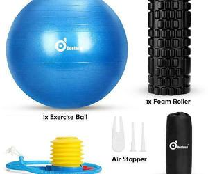 WADEO 3-In-1 Professional Exercise Ball Foam Roller Kit with Portable Stability, an item from the 'Fitness Focus' hand-picked list