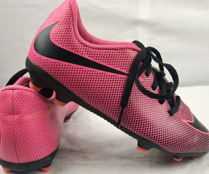 Nike Soccer Cleats Youth Size 4 Neon Pink & Black Lace Up, an item from the 'Youth Soccer Gear' hand-picked list