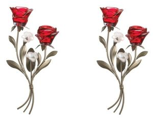 Set of 2 Double Red Roses on Leafy Stem Tealight Candle Wall Sconces, an item from the 'Valentine's Day Perfect Gift' hand-picked list