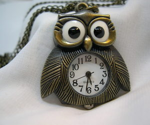 "L68, OWL, Ladies Watch, Bronze Body and Chain (28""), 1.5"" x 1.5"", wb, an item from the 'Watch It!' hand-picked list"