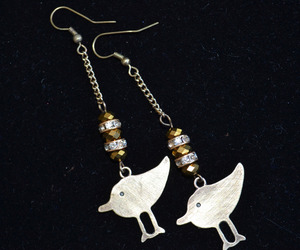 Bird earrings, Long designer earrings, bronze Boho earrings (E980), an item from the 'Cool Stuff' hand-picked list