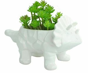 Dinosaur Ceramic Succulent Planter Triceratops Cactus Drainage Hole Flower Pot, an item from the 'Cool Stuff' hand-picked list