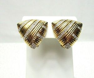 Panetta Vintage Gold Tone Rhinestone Earrings Clip On , an item from the 'Vintage Earrings are Back' hand-picked list
