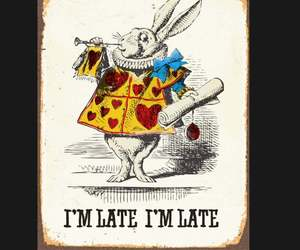 Alice in Wonderland White Rabbit I'm Late metal Sign, rabbit sign. Retro wall si, an item from the 'We're All Mad Here' hand-picked list