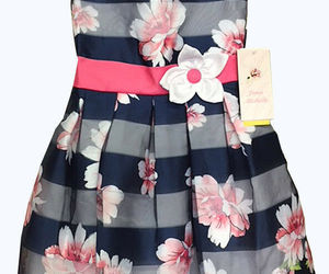 Jona Michelle Girls' Special Occasion Dress Navy Shadow Stripe , an item from the 'Spring Wear' hand-picked list