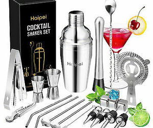 22PCS/Set Cocktail Shaker Boston Maker Bartender Martini Mixer Making Tool Bar T, an item from the 'Happy Hour at Home' hand-picked list