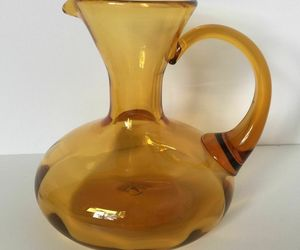 Vintage Antique Handblown Amber Glass Aladdin Pitcher Jug Vase, an item from the 'I'm Blown Away..' hand-picked list