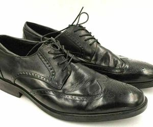 Joseph Abboud Men Leather Wingtip Oxfords Size US 11D Black, an item from the 'These Boots Were Made for Rocking' hand-picked list