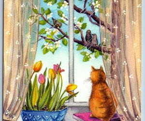 GINGER RED CAT looks Window and Birds Spring Tulips New Unposted Postcard, an item from the 'Preying Kitties...' hand-picked list