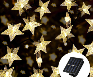 Solar Star String Lights 100 LED Warm White 8 Modes Twinkle Fairy Outdoor Garden, an item from the 'Summer Party' hand-picked list