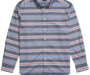 Tommy Hilfiger Adaptive Mens Custom-Fit Marky Twill Stripe Shirt Size XL, an item from the 'Adaptive clothing for disabilities' hand-picked list