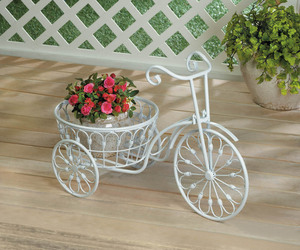White Vintage Style Three Wheel Bicycle Iron Plant Stand w/ Basket , an item from the 'Indoor Garden' hand-picked list