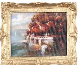 Framed Picture Village at Waterside w Boats pf1117 DOLLHOUSE Miniature, an item from the 'Community Picks: Pint Sized Dollhouse Miniatures' hand-picked list