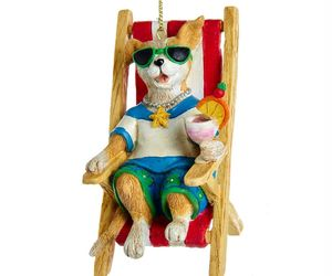 Dog in Beach Chair Ornament, an item from the 'Community Picks: Dog Days of Summer' hand-picked list