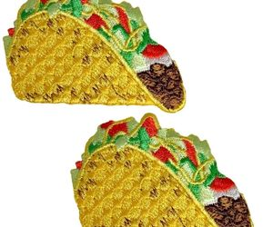 "Taco Applique Patch - Mexican Food Badge 2-1/8"" (2-Pack, Iron on), an item from the 'Every Day is Taco Tuesday if You Try Hard Enough' hand-picked list"