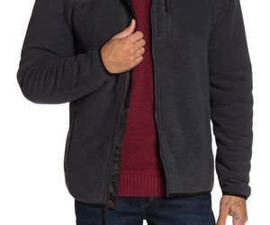 weatherproof Faux Shearling Lined Funnel Neck Jacket Full Zip Men's M Navy Blue, an item from the 'Sherpa and Fleece Hoodies' hand-picked list