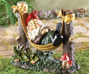 Sleeping Garden Gnome in Hammock Lawn Figurine Statue, an item from the 'Community Picks: Believe in Mystical Magic' hand-picked list
