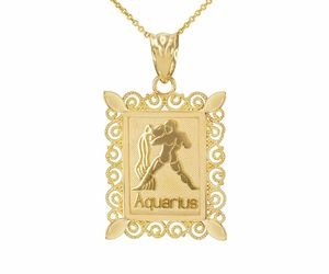 Fine 14k Solid Gold Aquarius Zodiac Sign Filigree Rectangular Pendant Necklace, an item from the 'AQUARIUS' hand-picked list