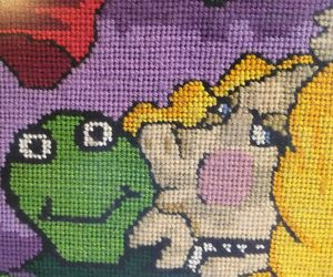 Kermit and Miss Piggy Needlepoint Completed Framed 16 X 18'' Muppets Jim Henson , an item from the 'A Story-Book Romance...' hand-picked list