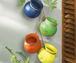 Fiesta Colorful Hanging Terre Cotta Pots Use Indoors or Outdoors, an item from the 'Indoor Garden' hand-picked list