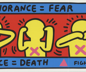 "KEITH HARING Fight Aids 4.75"" x 9.75"" Offset Lithograph 1998 Pop Art, an item from the 'Keith Haring' hand-picked list"
