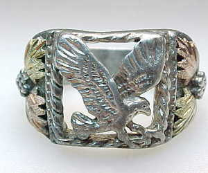 Vintage BLACK HILLS GOLD Sterling Silver EAGLE RING - Size 10 3/4, an item from the 'Community Picks: Rad Dad' hand-picked list