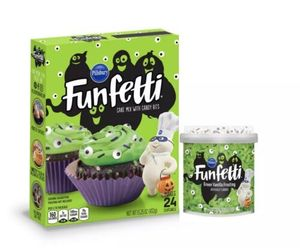 Pillsbury Funfetti Slime Cake Baking Mix and Monster Eye Frosting Halloween Fun, an item from the 'Halloween Treats' hand-picked list