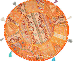 "Orange 28"" Round Cushion Cover Floor Pillow Throw Seating Tapestry Indian Decor, an item from the 'Cool Stuff' hand-picked list"