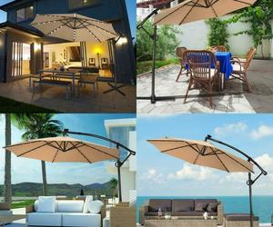10FT 360° ROTATION SOLAR POWERED LED PATIO OFFSET UMBRELLA-BLUE, an item from the 'Community Picks: April Showers...' hand-picked list