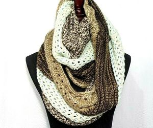 """Crocheted Infinity Scarf Browns Mint Green Large 29"""" long 15"""" wide Look Brand, an item from the 'Fabulous Fall Fashions' hand-picked list"""