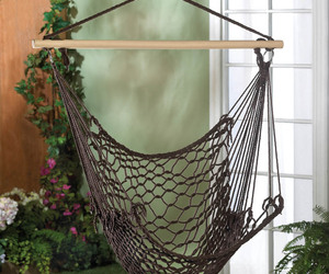Cotton Net Hammock Swing Chair in Espresso Brown For Garden, Patio, Porch , an item from the 'Summer Outdoor Furniture' hand-picked list