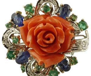 Handcrafted Ring Diamonds, Emeralds and Blue Sapphires, Coral, 14 Karat Gold, an item from the 'Orange Dreamsicle Dreams' hand-picked list